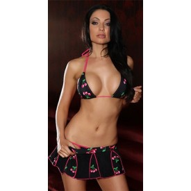 Купальник из трёх предметов Cherry Taste: бикини с юбочкой и трусиками-стринг